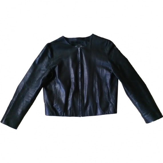 REVILLON* : vintage 90s black leather jacket, M, b