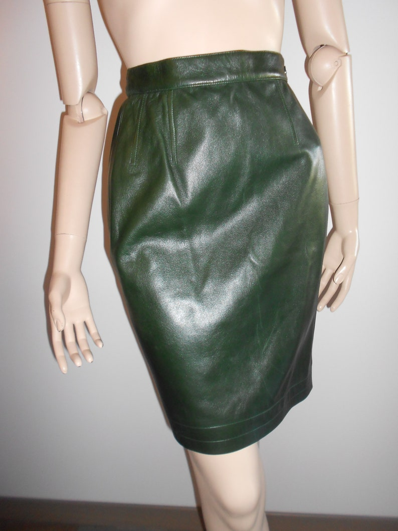 20563d5df29 Vintage YSL Yves Saint Laurent : green leather skirt size XS | Etsy