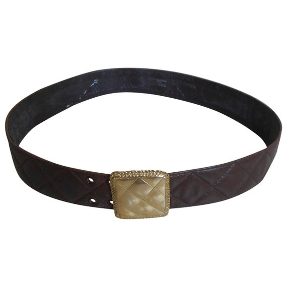Vintage 1980s, CHANEL*, brown quilted leather belt