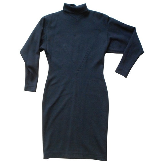 ALAIA* Vintage 1980s, black jersey wool dress, M,