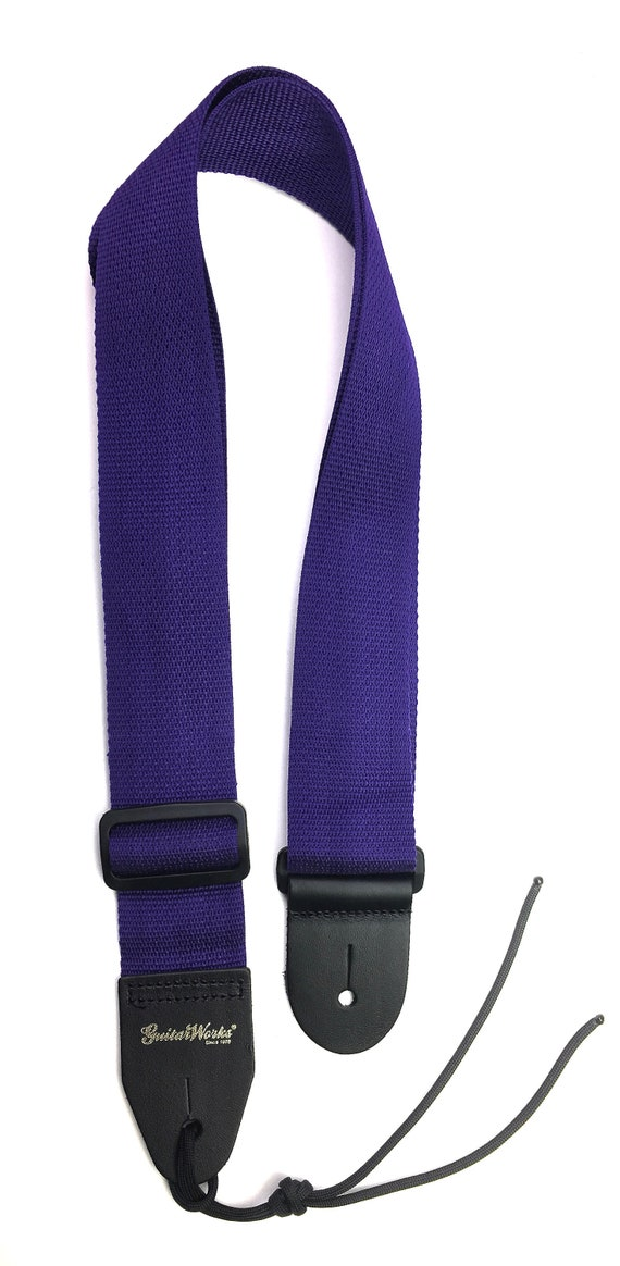 Guitar Strap Purple Velvet On Black Nylon Leather Ends Adjustable Length Fits All Acoustic /& Electric /& Bass Guitars Quality Made In U.S.A.