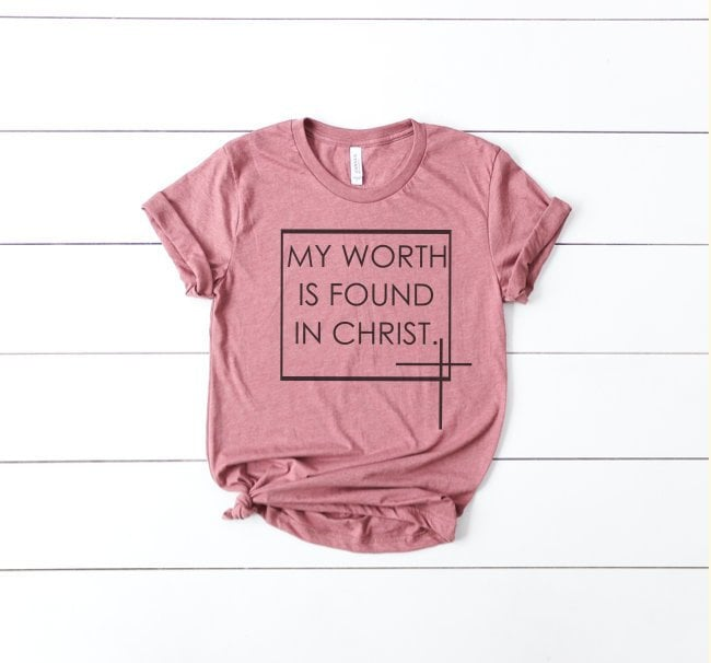 0c8b72a62 SALE My Worth Is Found In Christ//Women's Christian Graphic Tee ...