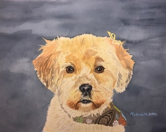 Commission a custom pet portrait painting. FREE SHIPPING! Hand painted in watercolors from photos.