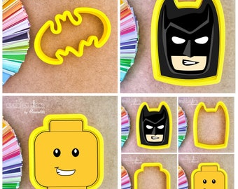 Lego Cookie Cutters - Batman Head and Logo Cookie Cutter - Periwinkles