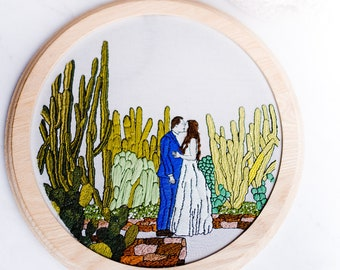 Personalized Portrait Embroidery Hoop, Custom Embroidery, Personalized Embroidery
