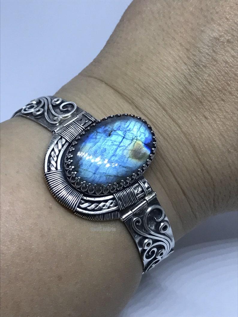 Handmade scroll wire sterling silver cuff bracelet with blue labradorite