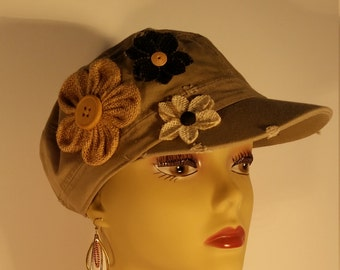 4be4da2ddb7 Tan Women s Adult Baseball Cap Hat with Flowers and Buttons Embellishment