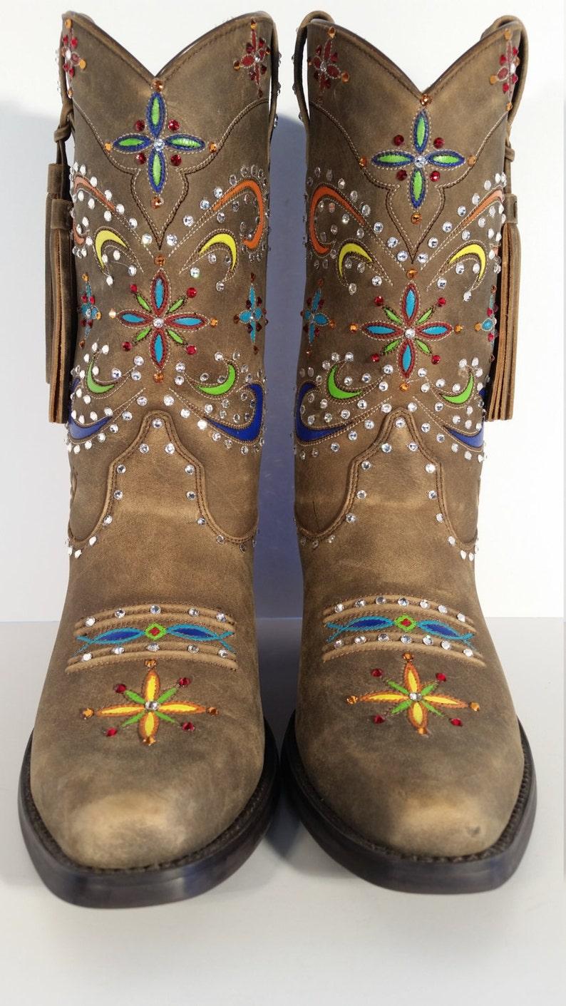 e6ec98d6bea Size 8 B Women's Cowboy Boots New Ariat Women's Tan Desert Star Tassel Hand  Painted and Swarovski Crystals
