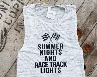 d49ffffd Summer Nights and Racetrack Lights, Muscle Tank, Dirt Track Racing, Drag  Racing, Racing Shirt, Racing Tank Top, Racing Tshirt, Bella Canvas