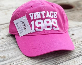 Vintage 1989 Hat Custom Birthday 30th For Her Gifts Women Hats