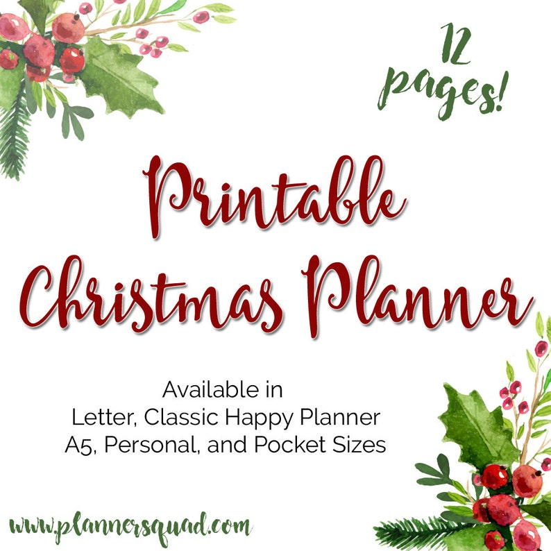 Christmas Holiday Planner Printable Inserts in Personal A2 image 0