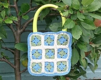 Crochet, granny square hand bag in 100% recycled cotton blue green and cream