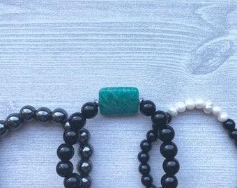 Agate stack of 3 diffuser bracelets