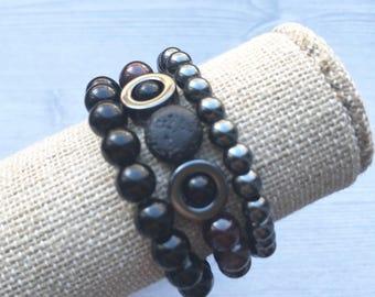 Garnet stack of 3 diffuser bracelets