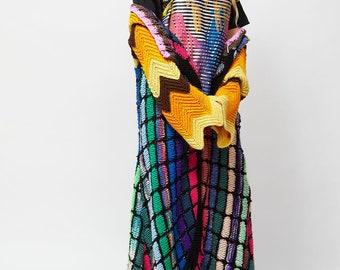 Womens boho hippie Crocheted coat