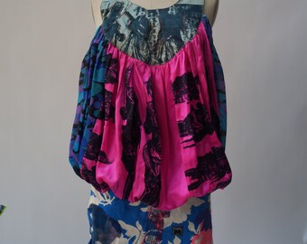 BRIGHT PINK and silk CAMO ,tea dress