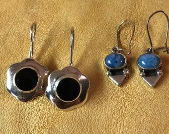 Onyx and Sodalite Sterling Earrings