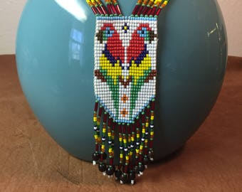 Seed Bead Parrot Blanket Necklace