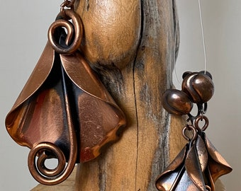 Antique Mid Century Copper Necklace and Screw Back Earrings
