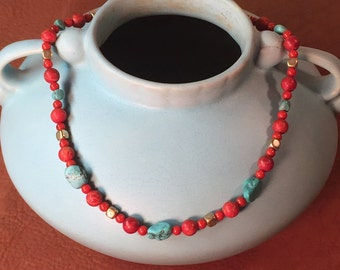 Turquoise Pipestone Brass & Glass Necklace