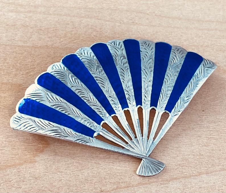 Sterling and Niello Enamel Blue Fan Pin Siam