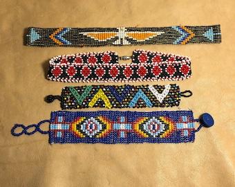 Native Seed Bead Hat Band Choker & Bracelets