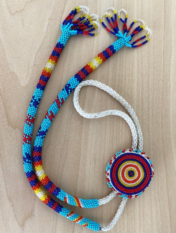 Native American Beaded Loomed Bolo Tie Necklace