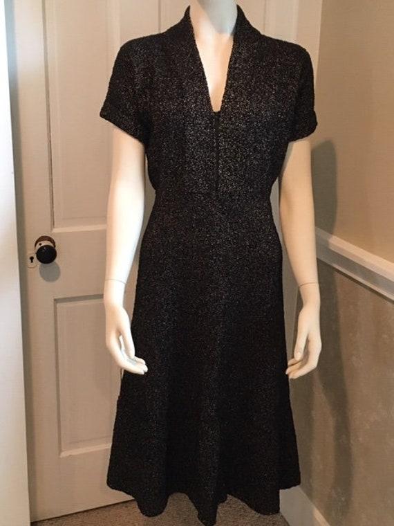 Vintage 1950s black gold speckled lurex knit dress