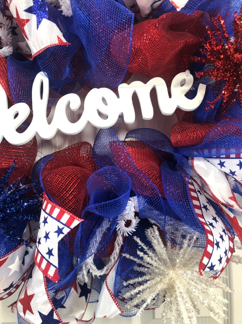 Patriotic wreath-Independence Day Wreath-Welcome wreath-front door wreath-Memorial Day Fourth of July wreath