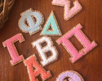 Sorority Glitter Letter Patches, Greek Letter Self-Adhesive Glitter Patch, Greek Letter Sticker, Sorority Chenille Letter Sticker Patch