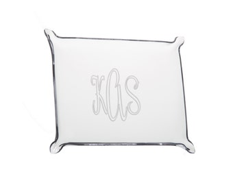 SMALL Monogram Lucite Tray, Personalized Acrylic Tray, Hostess Gift, Wedding Gift, Gift for Her, Jewelry Tray, Grad Gift, Appetizer Tray