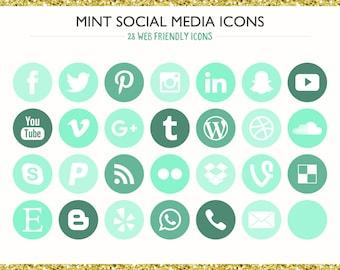 560 Social Media Icons! Mint - PNG files- Digital Download- Blog/Wordpress/Web/Email Friendly