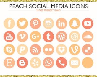 560 Social Media Icons! Peach - PNG files- Digital Download- Blog/Wordpress/Web/Email Friendly