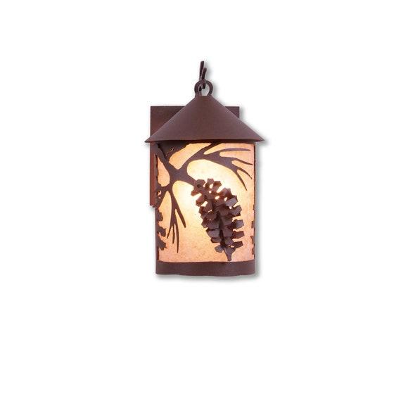 Cascade Lantern Outdoor Wall Light Small Spruce Cone Etsy