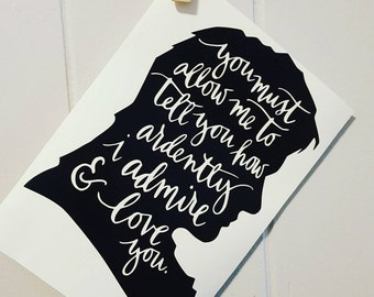 Mr Darcy Car Decal Mr Darcy Decal Mr Darcy Sticker Pride and Prejudice Decal Pride and Prejudice Car Decal Jane Austen Decal Jane Austen