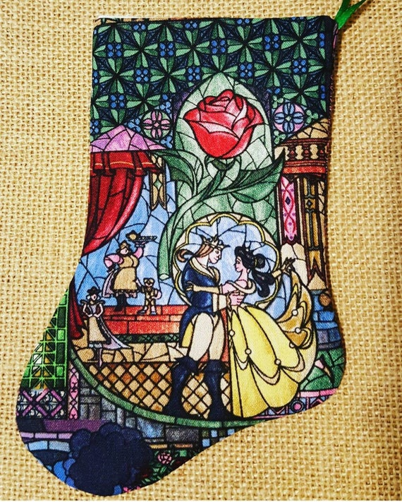 Beauty And The Beast Christmas.Beauty And The Beast Christmas Stocking Beauty And The Beast Stocking Christmas Disney Stocking Disney Christmas Stocking