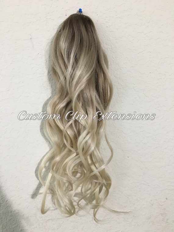 Balayage Blonde Human Hair Extensions Clip In Hair Etsy