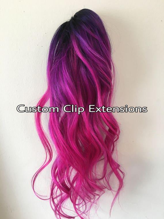 Hot Pink Magenta Clip In Hair Extensionsmagenta Hair Pink Etsy