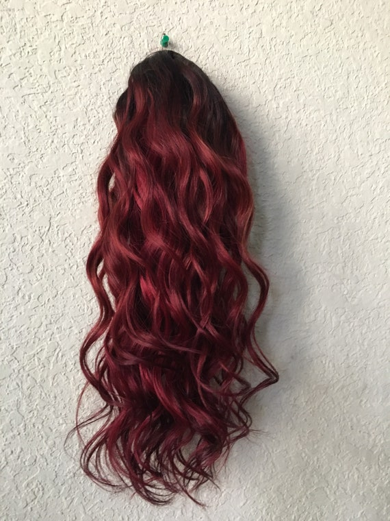 Dark Red Clip In Hair Extensions Human Hair Extensions Etsy