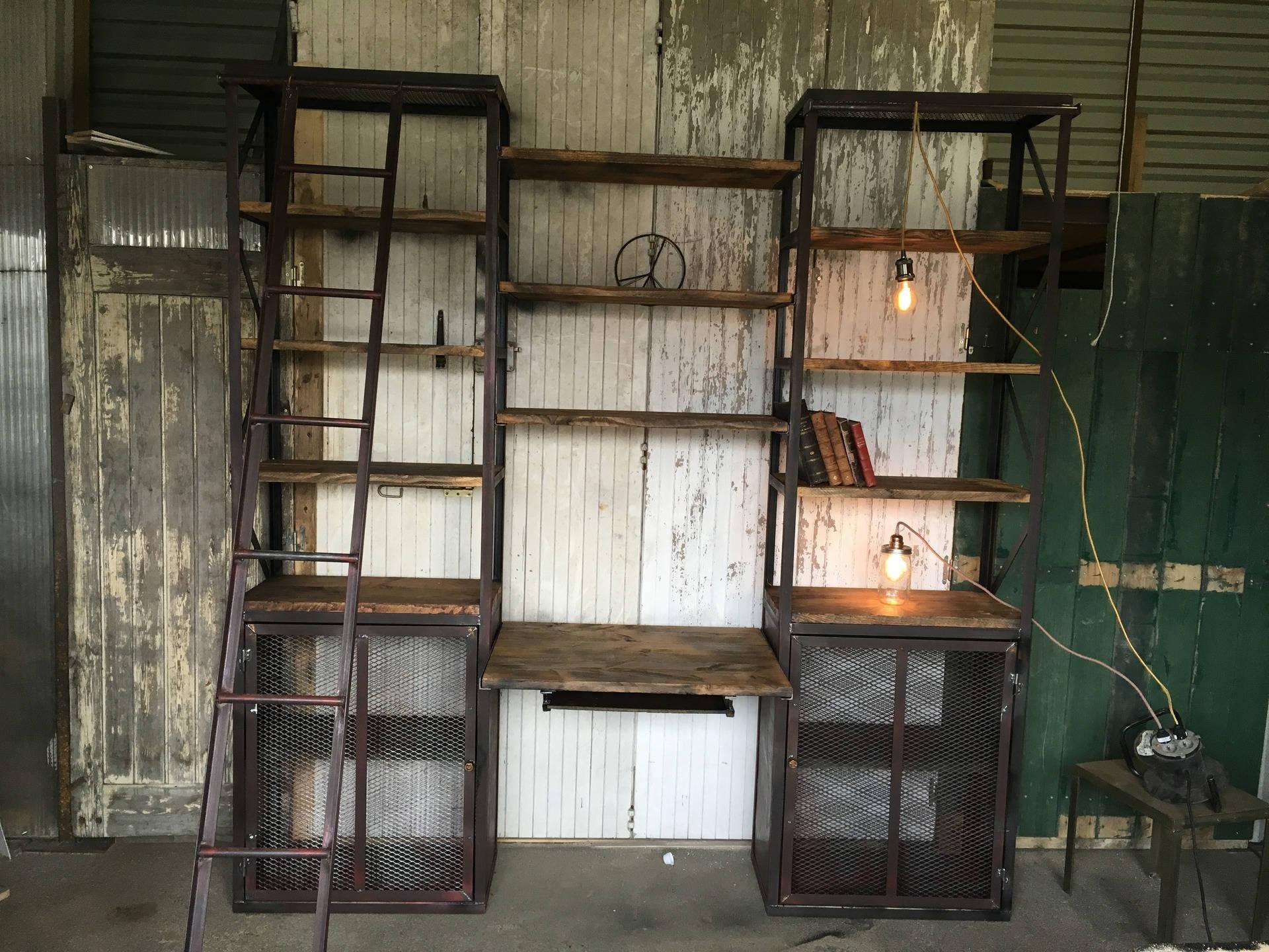 biblioth que couleur style industriel etsy. Black Bedroom Furniture Sets. Home Design Ideas