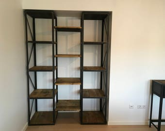 Furniture wood and industrial steel library