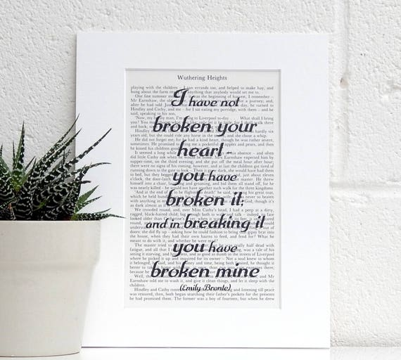 Emily Bronte quote  dictionary page literary art print decor present gift