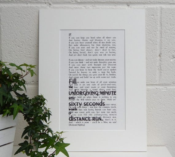 Rudyard Kipling Poem If Print Inspirational Gift For Son Coming Of Age Gift