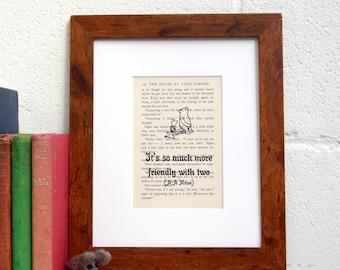 A A Milne Vintage Book Page Quote, Winnie the Pooh Print, Children's Room Decor, Nursery Decor, Nostalgic Children's Literature Gift