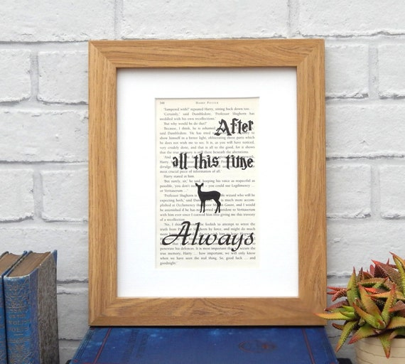 Harry Potter  quote dictionary page literary art print decor present gift