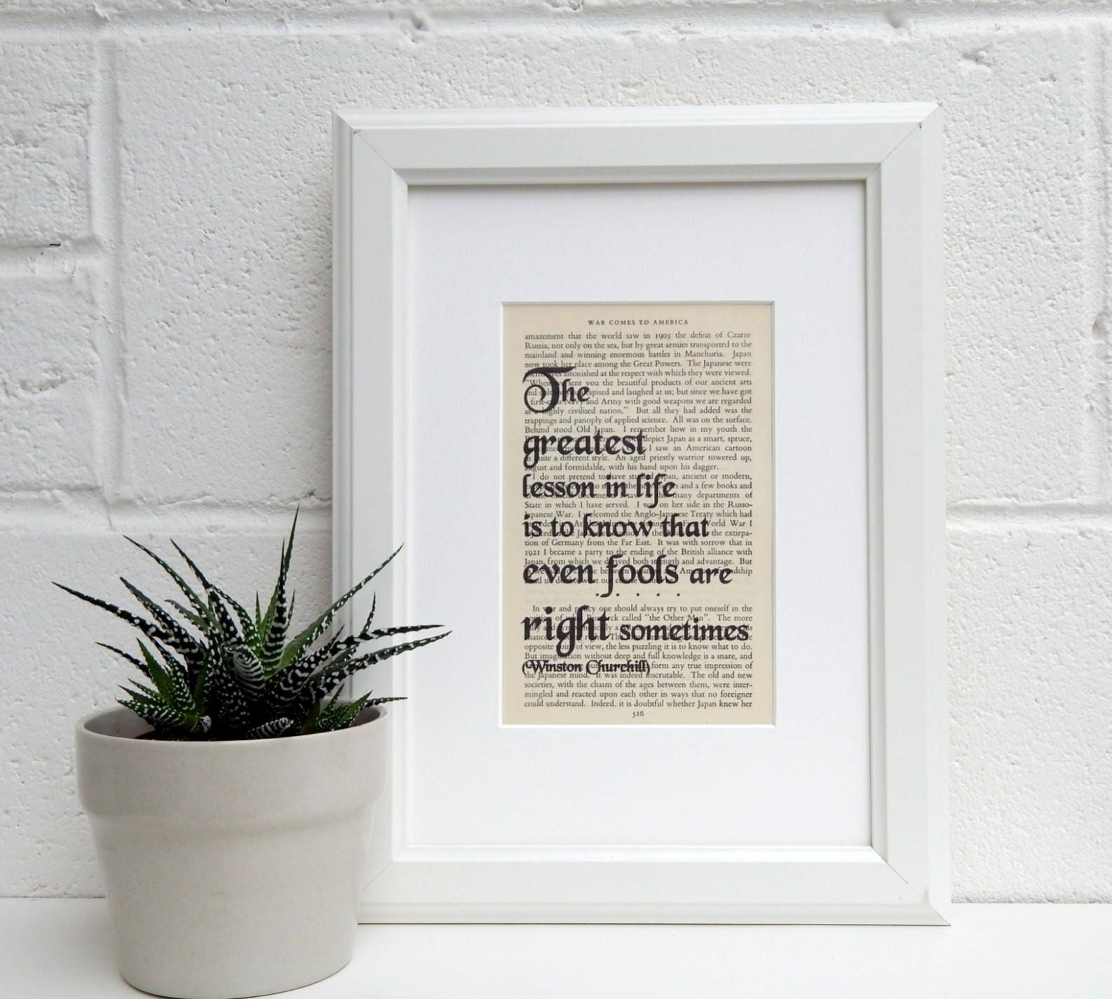 Vintage Book Page Quote Winston Churchill Literary Decor   Etsy
