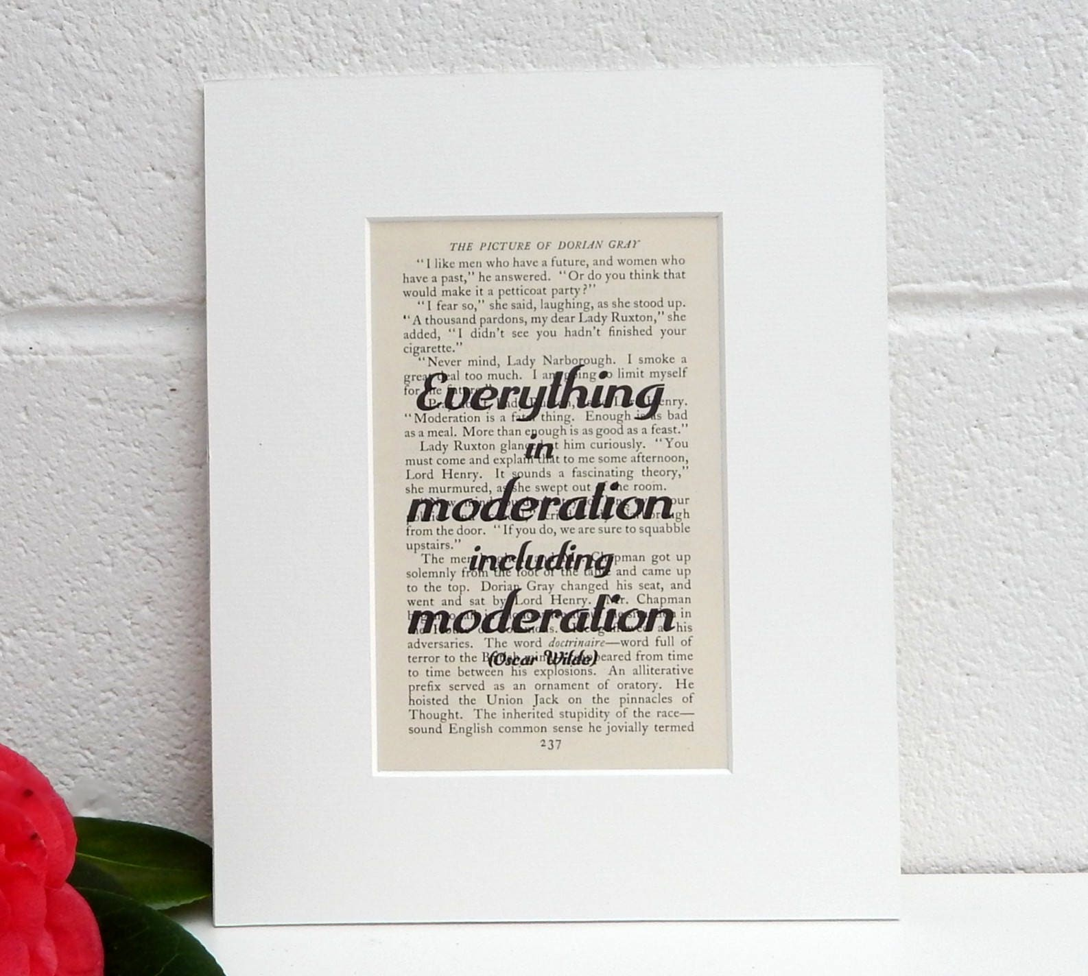 Oscar Wilde Quote Print Vintage Book Print Inspirational
