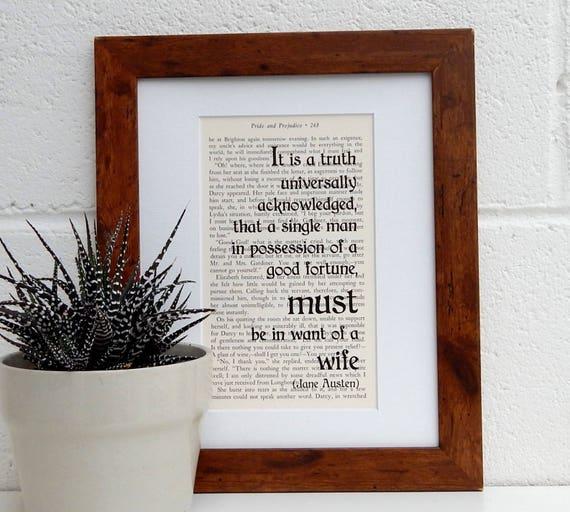 Vintage Literary Print Antique Book Print Romantic Wall Art Jane Austen Pride and Prejudice Quote