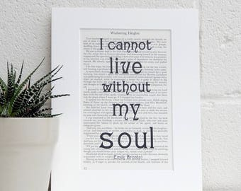 Wuthering Heights Quote Art Print, Emily Bronte Vintage Book Print, Literary Gift, Romantic Gothic Novel Art Print, Book Lover Gift