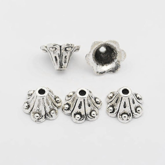 Tibetan Antique Silver 5 Petal Scroll Flower Bead Caps 3mm thick Size-  about 12mm long hole: 3mm 11.5mm wide